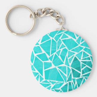 Pretty Little Blue Giraffe Pattern Basic Round Button Key Ring