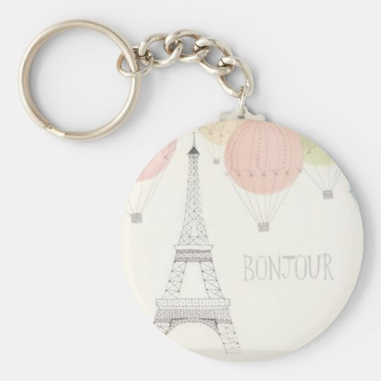 Pretty Little Bonjour Basic Round Button Key Ring