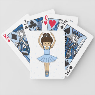 Pretty Little Cartoon Ballerina Girl in Blue Bicycle Playing Cards