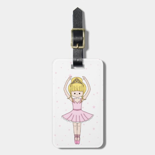 Pretty Little Cartoon Ballerina Girl in Pink Bag Tag
