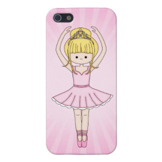 Pretty Little Cartoon Ballerina Girl in Pink Cover For iPhone 5/5S