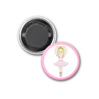 Pretty Little Cartoon Ballerina Girl in Pink Magnet