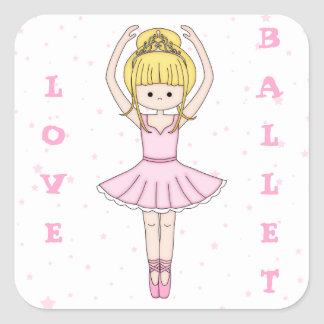 Pretty Little Cartoon Ballerina Girl in Pink Square Sticker