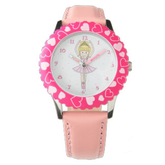Pretty Little Cartoon Ballerina Girl in Pink Watch