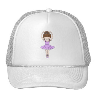 Pretty Little Cartoon Ballerina Girl in Purple Cap