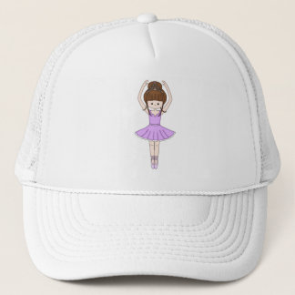 Pretty Little Cartoon Ballerina Girl in Purple Trucker Hat