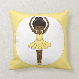 Pretty Little Cartoon Ballerina Girl in Yellow Cushion