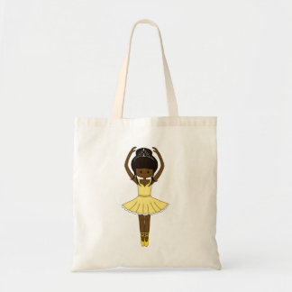 Pretty Little Cartoon Ballerina Girl in Yellow Tote Bag