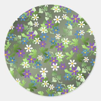 Pretty Little Flowers Round Sticker