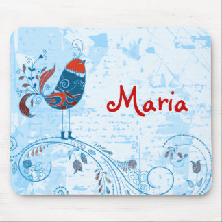 Pretty Little Red Blue Bird, Flowers & Grunge Mouse Pads