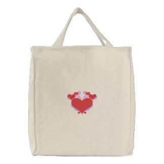 Pretty Love Hearts Tote Embroidered Bags