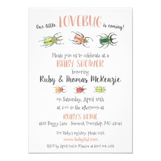 Pretty Lovebugs Watercolor Beetles Baby Shower Invitation