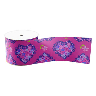 Pretty Magenta Hearts and Flowers Grosgrain Ribbon