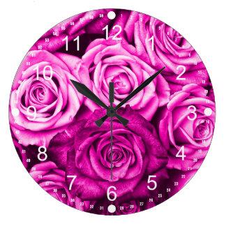 Pretty Magenta Pink Roses Flower Bouquet Clocks