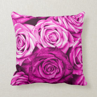 Pretty Magenta Pink Roses Flower Bouquet Cushion