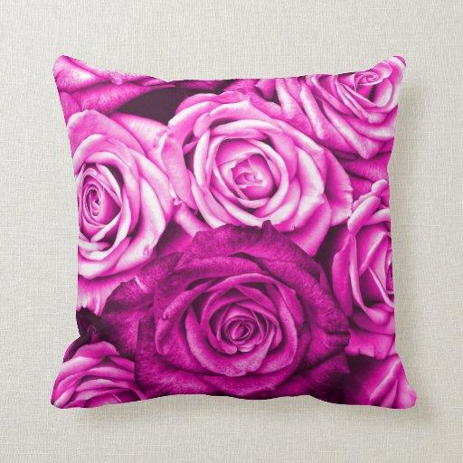Pretty Magenta Pink Roses Flower Bouquet Pillows