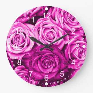 Pretty Magenta Pink Roses Flower Bouquet Large Clock