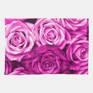 Pretty Magenta Pink Roses Flower Bouquet Tea Towel