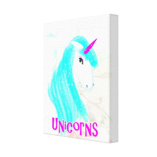 Pretty Magical Mythical Unicorn Illustration Stretched Canvas Print