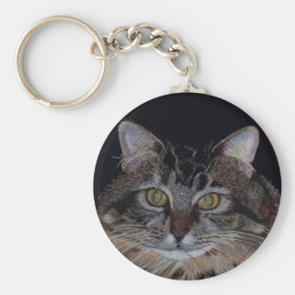 Pretty Maine Coon Cat Key Ring