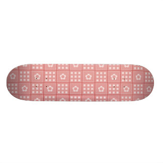 Pretty Mauve Flower Patchwork Quilt Pattern 21.6 Cm Old School Skateboard Deck