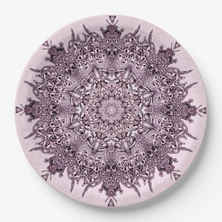 Pretty mauve mandala art on paper plates