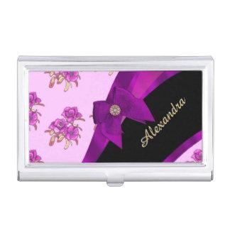 Pretty mauve purple vintage floral pattern business card holder