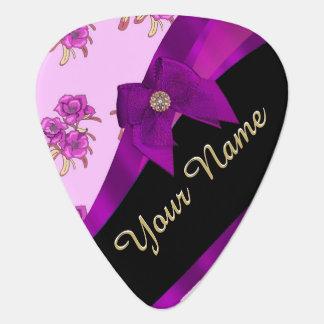 Pretty mauve purple vintage floral pattern guitar pick