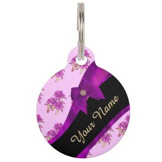 Pretty mauve purple vintage floral pattern pet ID tag