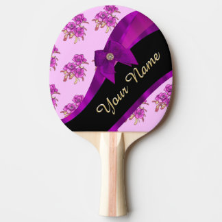 Pretty mauve purple vintage floral pattern ping pong paddle
