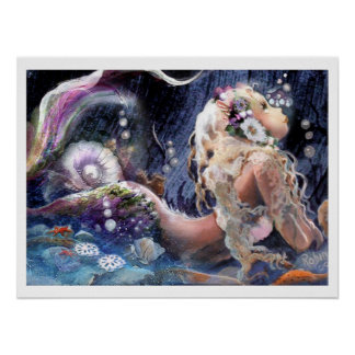 Pretty Mermaid in the Sea Poster