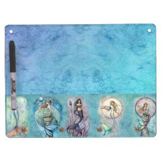 Pretty Mermaid in Watercolor Sea Dry Erase Board