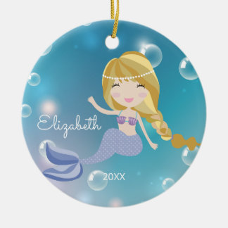 Pretty Mermaid Personalized Christmas Ornament