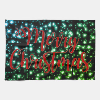Pretty Merry Christmas starry night towel