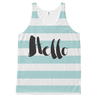 Pretty Mint and White Stripes Hello All-Over Print Tank Top