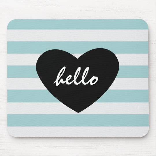 Pretty Mint and White Stripes Hello Heart Mouse Pad