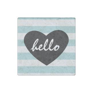 Pretty Mint and White Stripes Hello Heart Stone Magnet