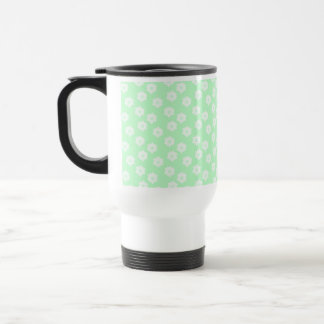 Pretty Mint Green Floral Pattern. Stainless Steel Travel Mug