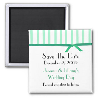 Pretty Mint Green Stripes Save the Date Magnet