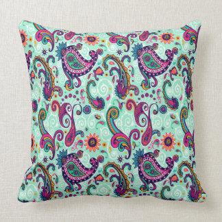 Pretty Mint Paisley Cushion
