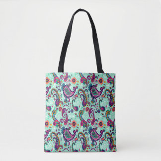 Pretty Mint Paisley Tote Bag