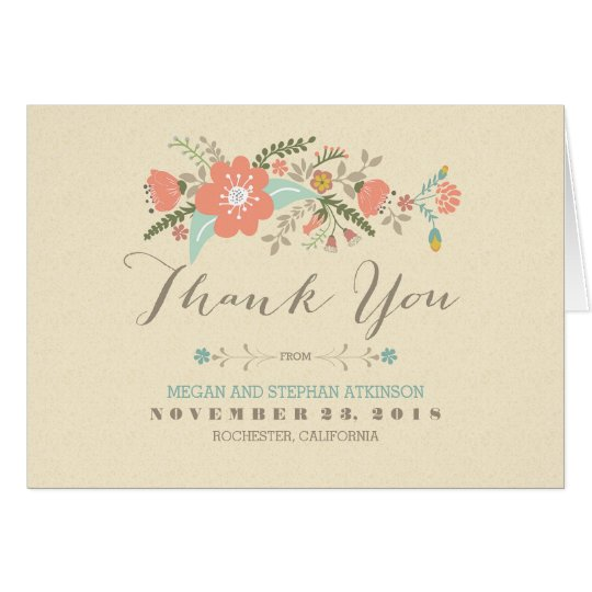 Pretty modern flowers handwritten thank you card