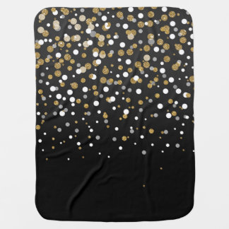Pretty modern girly faux gold glitter confetti baby blanket