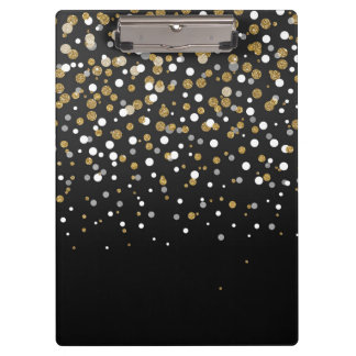 Pretty modern girly faux gold glitter confetti clipboard