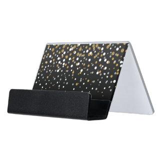 Pretty modern girly faux gold glitter confetti desk business card holder