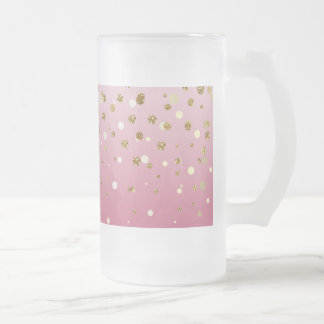 Pretty modern girly faux gold glitter confetti frosted glass beer mug