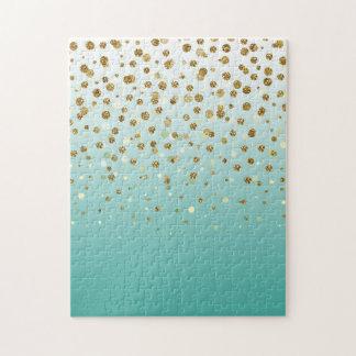 Pretty modern girly faux gold glitter confetti jigsaw puzzle