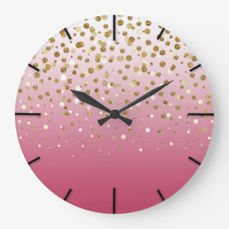 Pretty modern girly faux gold glitter confetti large clock