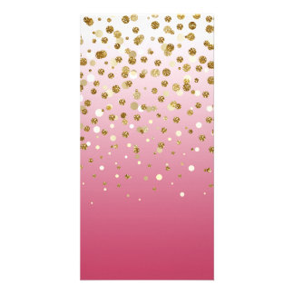 Pretty modern girly faux gold glitter confetti personalised photo card