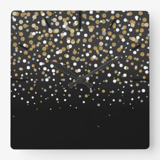Pretty modern girly faux gold glitter confetti square wall clock